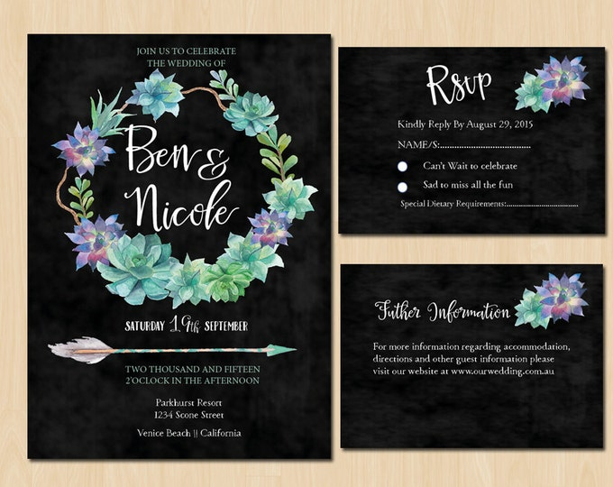 Printable Succulent and Floral Wedding Suite - PRINTABLE Invitation // RSVP // Information Card by GreenDoorHandmade