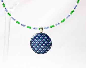 Blue Green White Glass Pendant on Beaded Choker Necklace