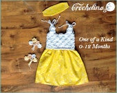Super Stretchy - 0-12 Month- 1 of a kind-Crochet Boutique Baby Dress - Spring at Play Collection-