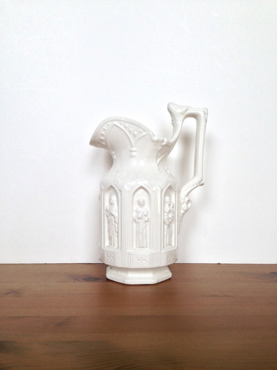 Vintage White Ceramic Pitcher Relief Design Of Catholic Saints