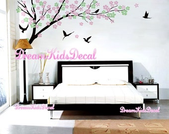 Tree wall Decal Wall Sticker Baby Nursery Decals-Cherry Blossoms Tree Branch Decal with Birds-DK174
