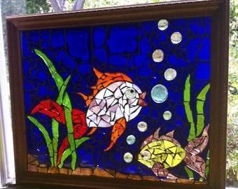 Mosaic Glass on Glass Fish Life