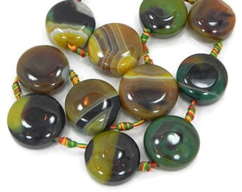 6 round green and brown agate beads