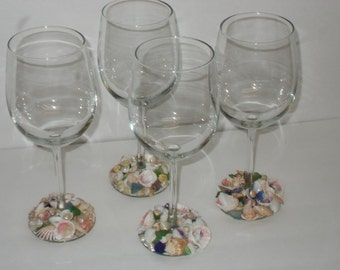 Set of 4 Wine Glasses Beach Theme with Seashells