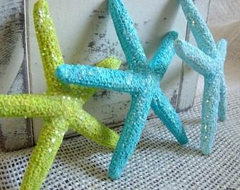 Painted Starfish, Set of 6 Painted Starfish,Wedding Decorations, Star Fish Decor, Nautical Wedding,  Wedding Starfish, Nautical Decor