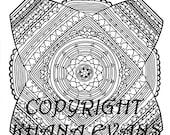 PDF A4 Printout Sophie's Universe Blanket Colouring in Design Sheet - hand drawn pen and ink interpretation