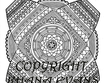PDF A4 Printout Sophie's Universe Blanket Colouring in Design Sheet - hand drawn pen and ink interpretation