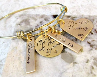 Mother of the Groom Personalized Hand Stamped Gold Bangle Bracelet - Wedding
