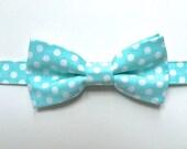 Boys Aqua Bow Tie, Aqua Polka Dot Bow Tie by 8th Day Studio