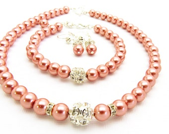 Coral Beaded Necklace, Champagne Bridesmaid Necklace, Bridal Pearl Necklace, Rose Pink Jewelry, Wedding Party Pearl Necklace Set