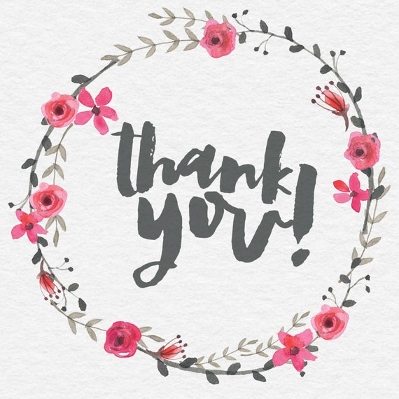 Watercolor thank you modern calligraphy hand