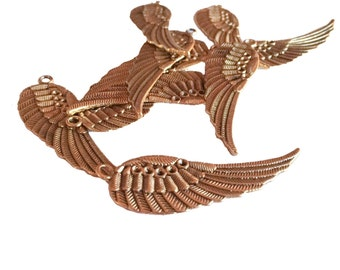 5 Angel Wing Charm Tibetan Wing Pendant Antique Golden Color Brass Finish Jewelry Making Supplies Gold Findings Charms Wholesale Lot of 5