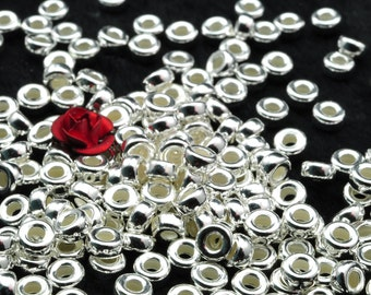 925 Sterling silver spacer wheel wholesale handmade jewelry smooth beads in 4.5 mm diameter X 2.5mm thickness