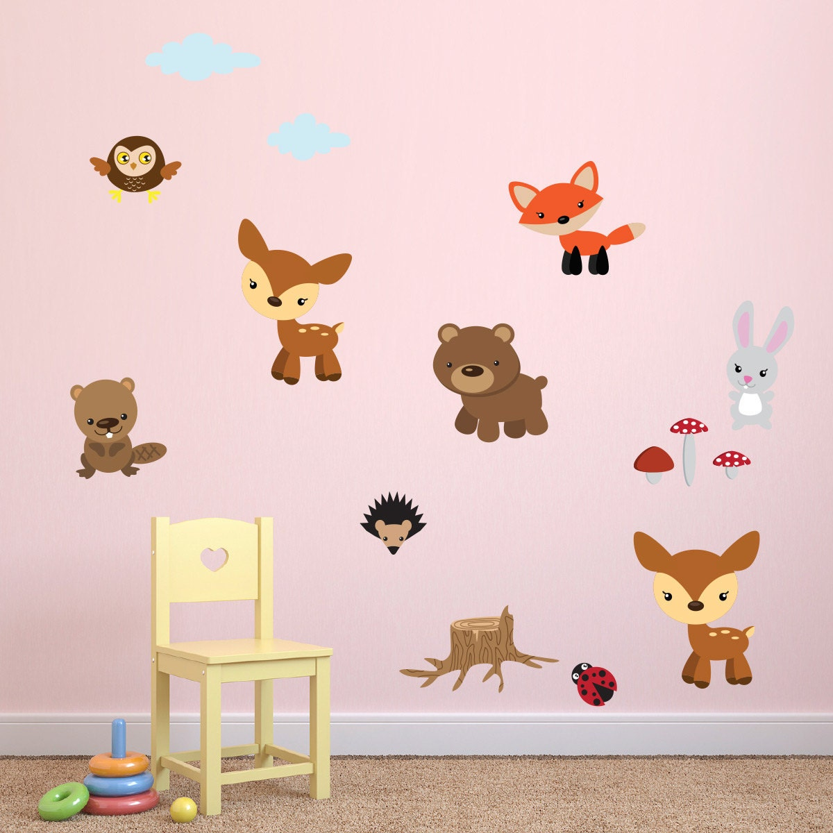 children 39 s woodland animals wall stickers animal wall. Black Bedroom Furniture Sets. Home Design Ideas