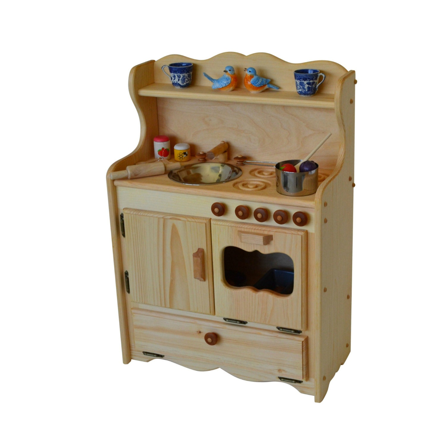 Child's Natural Wooden Play Kitchen-Wooden Play