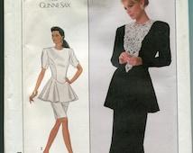 1980s Dress Pattern Simplicity 8900 Gunne Sax Princess Seams Straight Skirt Womens Vintage Sewing Patterns Size 12 uncut
