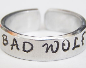 Bad Wolf - Doctor Who Aluminum Inspired Cuff Ring - Gift Under 20