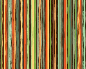 1 yard FOREST FRIENDS by Makower U.K. for Andover Fabrics Stripe Green