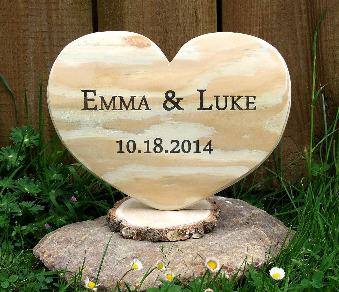 Unique Wedding Gifts Wood : Unique Wedding Gift Personalized Wood Heart Rustic by KatDeco