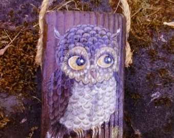 Owl painting on driftwood piece