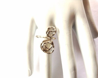 Sterling wire Ring - Twisted Silver Ring - Adjustable Sterling Ring - Handmade wire Ring - Swirly Silver Ring - Circle silver Ring - Wire