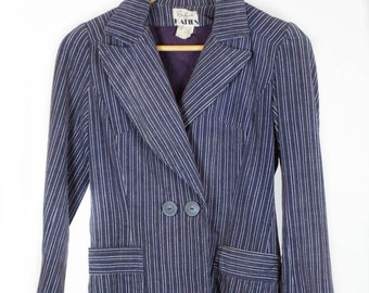 Vintage 70s 80s 'Katies' Cord Jacket in Navy And Purple