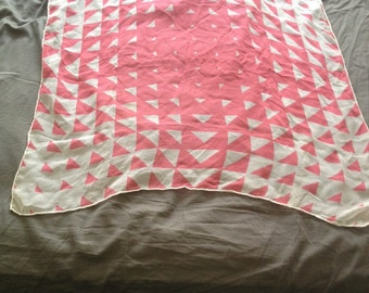 Pink and white geometric vintage scarf