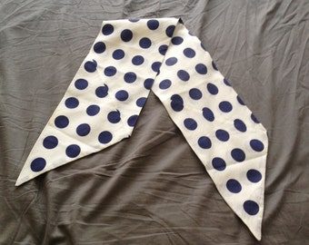 Vintage white and navy polka dot scarf