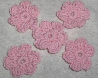 5 new crocheted flowers, appliques, embellishments, decoration, crochet flower, hat decor, crochet decor, baby hat decor