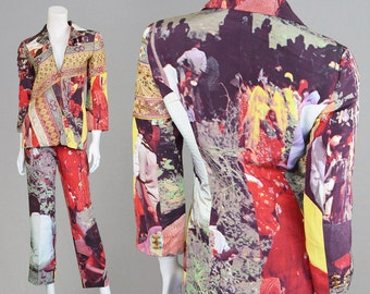 RESERVED 80s MOSCHINO COUTURE Silk Pant Suit Two Piece Embroidered Jacket & Trouser Suit Digital Print All Over Print Designer Suit