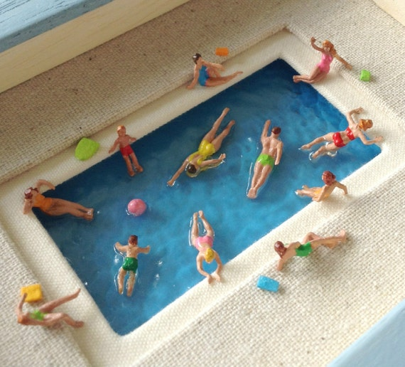 Swimming Pool Small Miniature Swimmers And Sun Bathers
