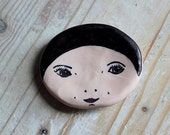 SALE! Small Illustrated Face Dish- Jet Black Hair Girl. Jewellery/Trinket Dish