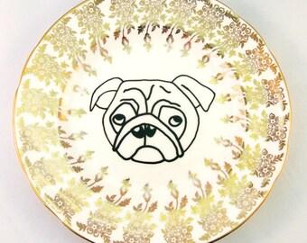 Pug Plate Pretty Black and Gold Vintage Drawing Outline Dog Lover Animal Gift Present for Her Stocking Filler Decorative Saucer Ring Holder