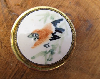 Vintage Bird Pill Box - Metal Pill Trinket Box