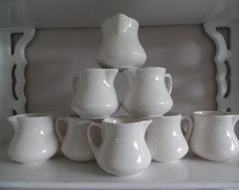 Small China Cream/ Syrup Pitchers, Set/ Lot of 8, Coffee Shop/ Restaurant Ware/ Church Creamers, B & B White Cottage Dishes, Buffalo - USA