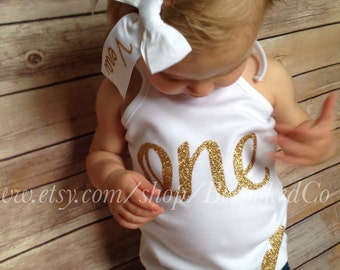 Gold One Birthday Tank Top/Baby Girl 1st Birthday Gold Tank Top/Pink and Gold birthday Tank top/Baby Girl First birthday Tank Top/