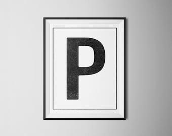 INSTANT DOWNLOAD Letter P Printable Monogram, art print 8x10