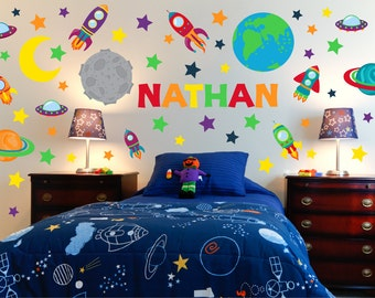 Outer Space Wall Art   Space Wall Decals   Boy Room Wall Art   Kids Room