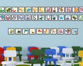 Alphabet and Number Wall Decal - Alphabet Letters for Nursery - Nursery Wall Decals - ABC Wall Decals