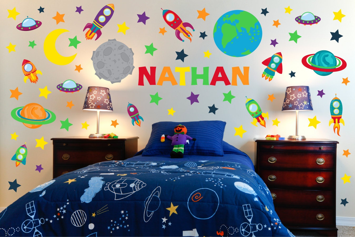 Outer space wall art space wall decals boy room wall art for Wall decor outer space