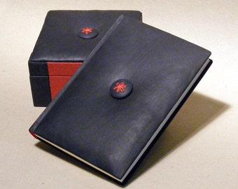 Book and Box Set, Leather Journal and Jewelry Box, Diary and Storage in Set, Desk Set, Blue Leather Red Canvas, Leather Button, Gift for Her