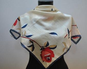 Vintage PRINTED silk scarf ...(841)