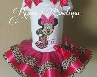 Minnie Mouse Birthday Ribbon Tutu Set | Birthday Party Outfit | Cheetah Minnie Mouse
