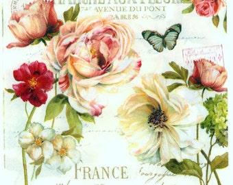 4 Decoupage Napkins | Marche aux Fleurs French Roses and Butterflies | Rose Napkins | Floral Napkins | Paper Napkins for Decoupage