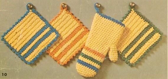 Potholders Oven Mitt Crochet Pattern From Yarnoverpatterns On Etsy