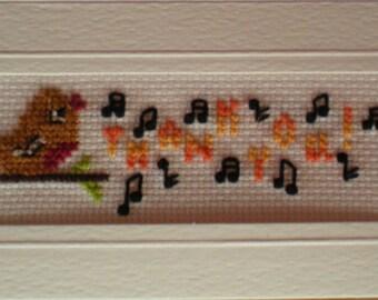 Thank you Birdie Card cross stitch kit