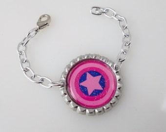 Girls Superhero Bottle Cap Bracelet