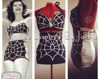 1940's Elise Spider Web Bathing Suit Reproduction