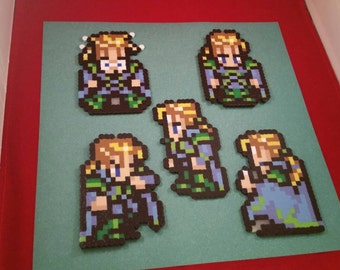 Final Fantasy VI/Final Fantasy III (US) perler bead sprite Edgar choose from 1 of 5 stances or get all 5, plain or magnet