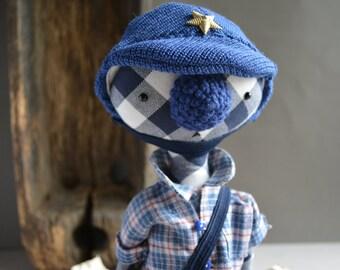 Art textile animal bear doll  - Soft toy -  Handmade teddy bear stuffed toy.